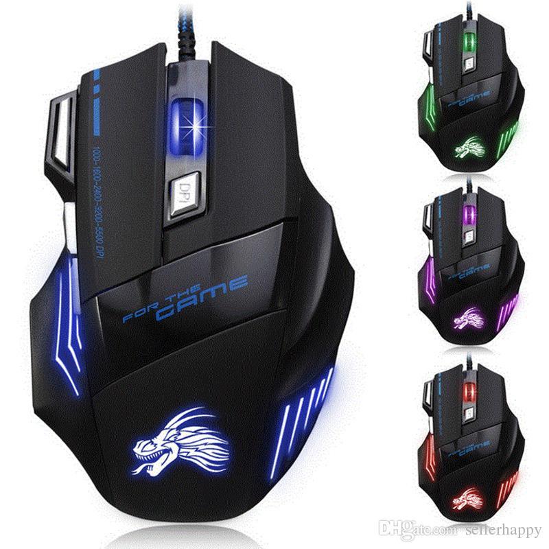 Professionelle 5500 DPI Gaming Mouse 7 Tasten LED Optische USB Verdrahtete Mäuse für Pro Gamer Computer X3 Maus DHL-frei