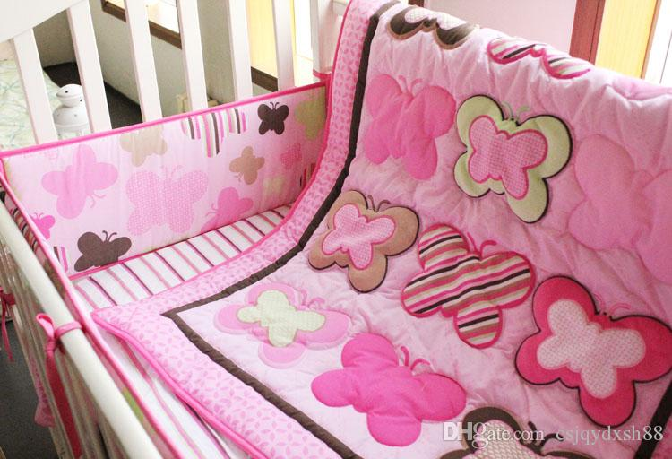 Baby bedding set Embroidery various butterfly Crib bedding set cotton Cot bedding set Quilt Bumper Mattress Cover bedskirt