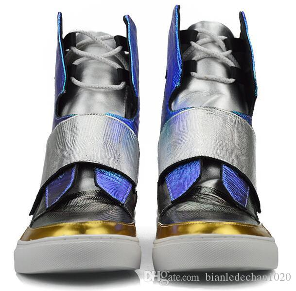 Korean version of high-top leather men's autumn Men's Bright silver flat boots Martin tide shoes catwalk stage performances
