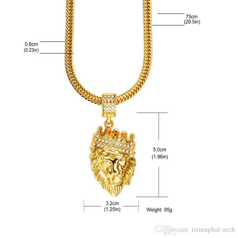 Alta qualidade 18 K Banhado A Ouro dos homens Hip hop cabeça do Leão coroa Rhinestone colar Rap Golden Rei leão Pingente HOMENS dake Cadeia Colar Homens