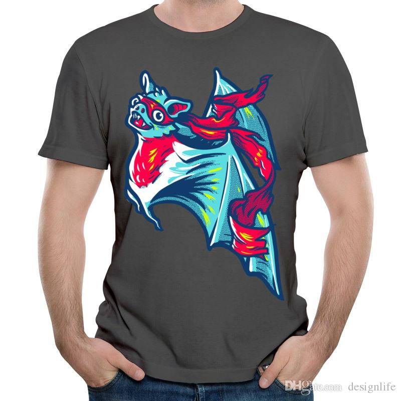 Personnalité Conception T-shirts Souriant Bat Hommes Longs T-shirts À Manches Courtes Chemise Ninja Pour Cool Boy 's Street Skaters Blue Tops