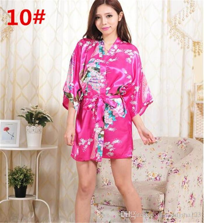 14 ألوان S-XXL مثير المرأة اليابانية الحرير كيمونو رداء منامة باس النوم النوم كسر زهرة كيمونو داخلية d713