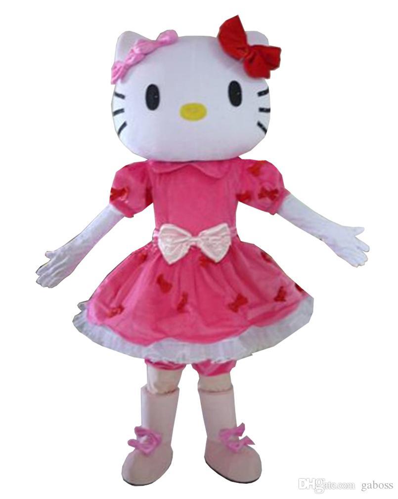 Traje de la mascota de Halloween Pink Hello Cat traje de la mascota de dibujos animados vestido de fiesta envío gratis