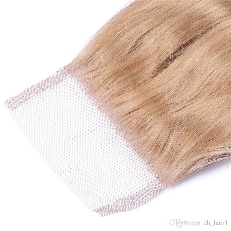 Malaysian 27 Honey Blonde Hair Weaves With Lace Closure 4X4 Free Part 27 Blonde Top Closure With Body Wave Hair Bundles