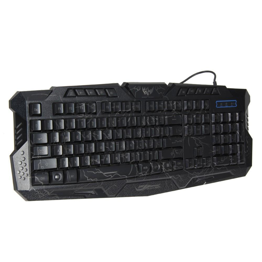 Orijinal M200 LED Klavye Crack Işıklı USB Multimedya PC Oyun Gamer Oyun klavyeler için Ayarlanabilir LED Aydınlatmalı lol