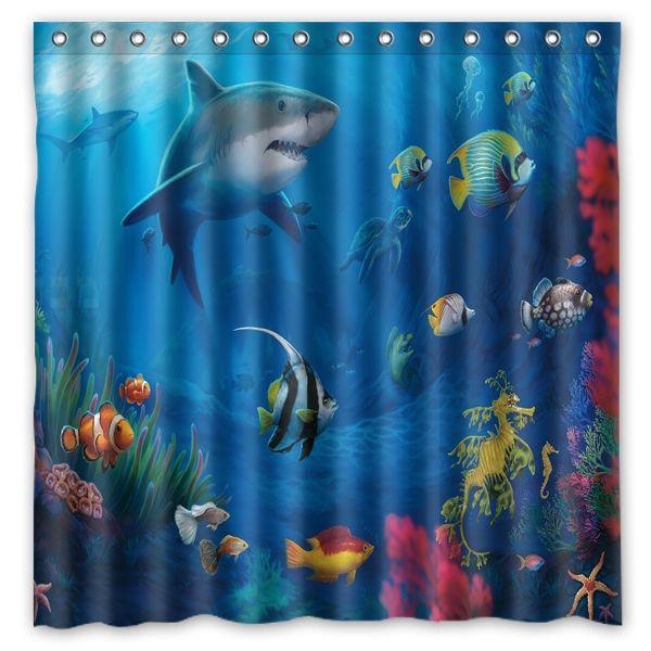 Underwater World Fish Design Shower Curtain Size 180 X Cm Custom Waterproof Polyester Fabric Bath Curtains Bathroom