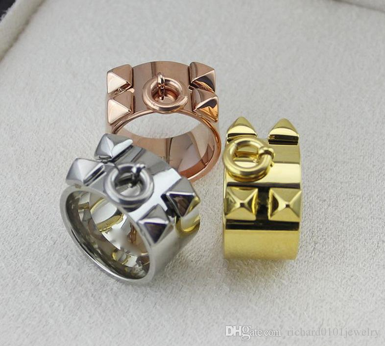 Gioielli hip hop H quattro rivetti anelli Larghezza anello H amanti della disciplina monastica buddista Gioielli di moda con quattro chiodi ad anello uomo e donna