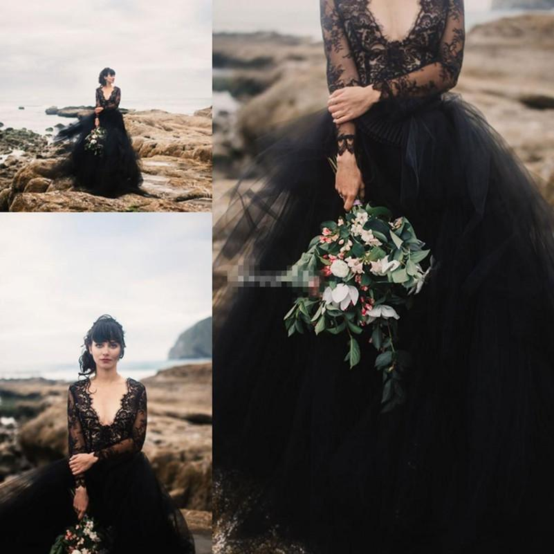 compre negro lace bohemia vestidos de novia con la ilusión de manga