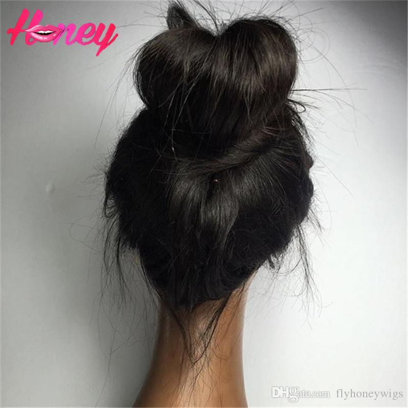High Ponytail Long Straight Human Hair Wig Glueless Full Lace Wigs For Black Women Peruvian Virgin Hair Wigs