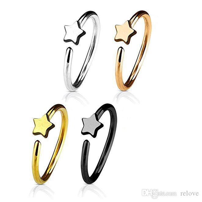 Fashion Star Nose Ring Nose Hoop For Women Men Stainless Steel Piercing Jewelry Silver Earrings Stud Gold Septum Clip Hoop Jewelry
