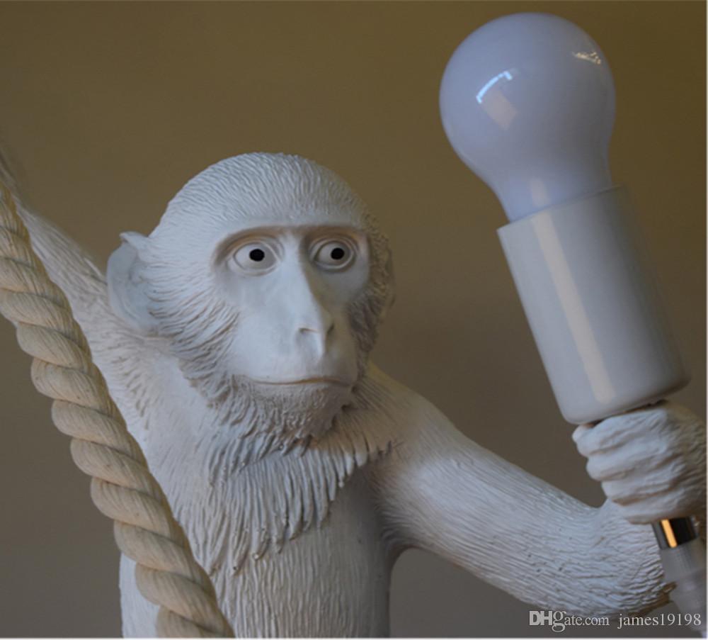 Современная обезьяна потолочная светлая белая обезьяна на веревочке потолок подвесной светильник для столовой отель Hotel Home Decor