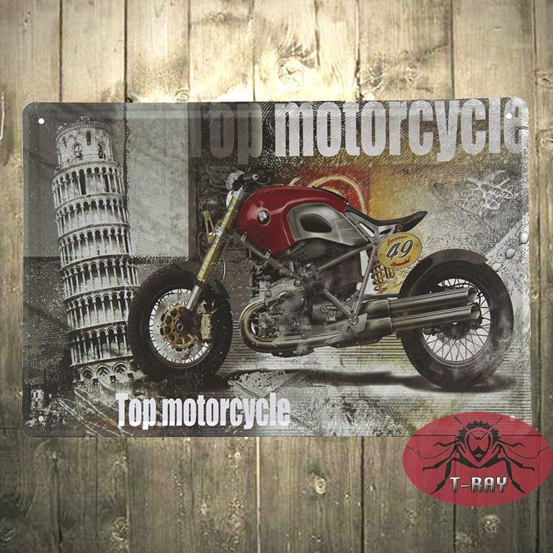 Top Motorcycle Metal Tin Signs Art Wall Decor House Cafe Restaurant ...