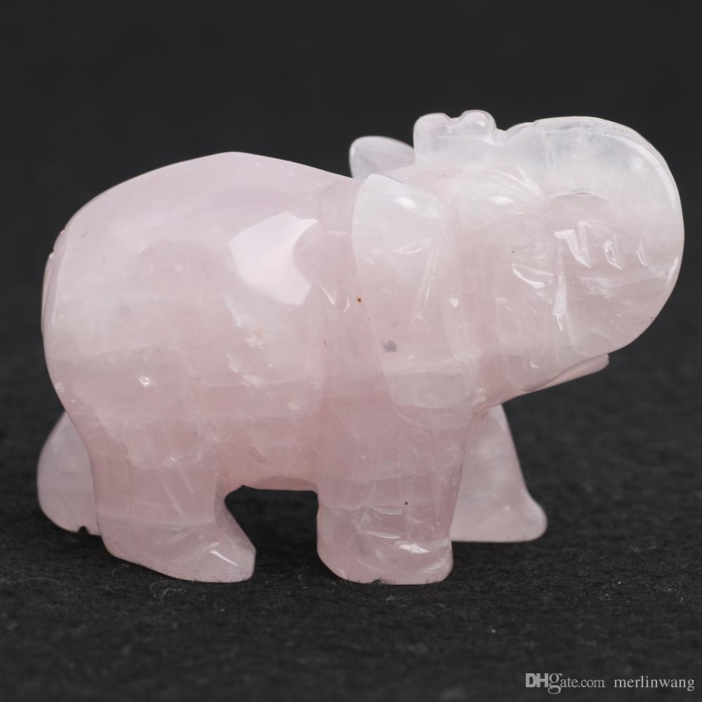 "2.9"" Rose PQuartz crystal elephant Figurine Carving Stone Longevity Chakra Healing Reiki Stones Carved Craft crystal elephant"