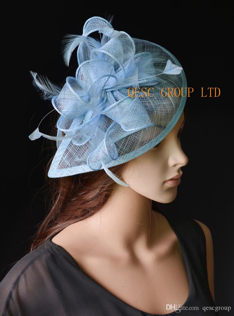 9b924c59 Hot Pale Blue Sinamay Fascinator Hat For Ascot Races,Melbourne Cup,Kentucky  Derby,Wedding And Party. Chic Brides Cool Hair Accessories From Qescgroup,  ...