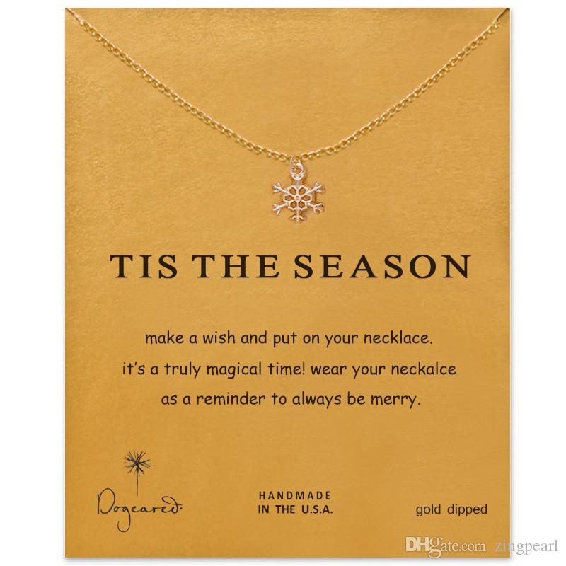 Dogeared Choker Necklaces With Card Gold Silver Snowflake Pendant Necklace For Fashion Women Jewelry TIS THE SEASON