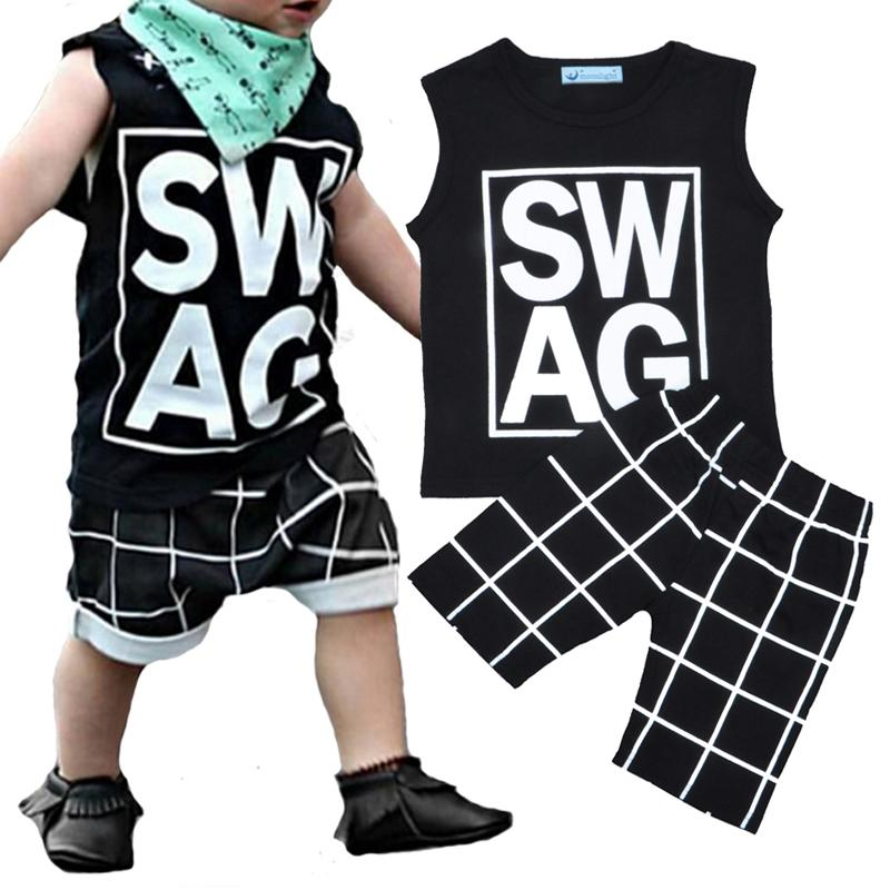 7db8abf3 Retail Bobo Choses Boys Clothing Set Summer Style Letter Pattern T-shirt  Tops + Plaid Shorts Baby 2pcs Set 2016 Brand Boy Girl Clothes Sets