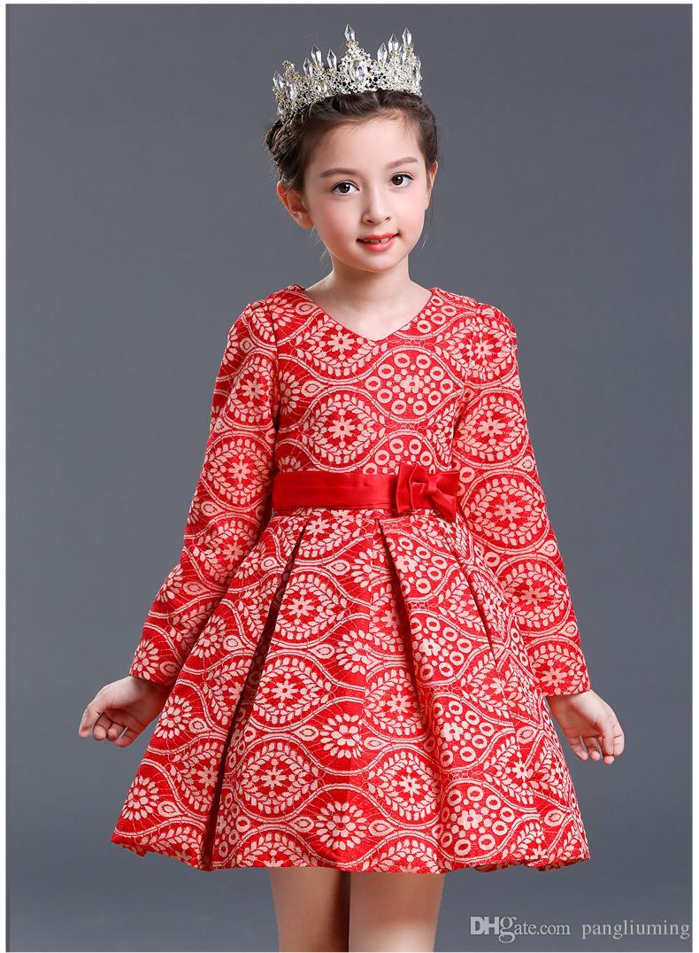 2018 new design children winter dress kids clothes longsleeve dress