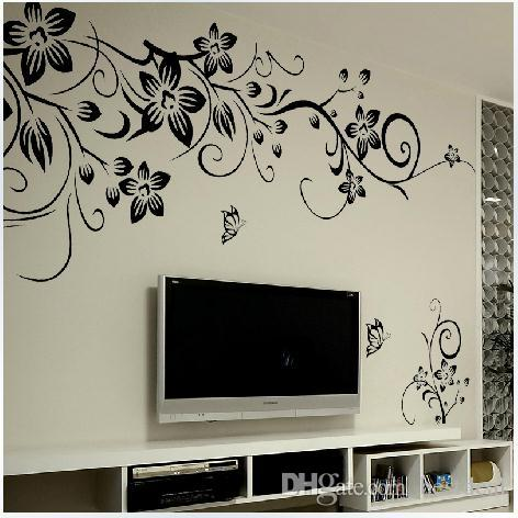 027s 80*100cm Black Flower Vine Wall Stickers Home Decor Large Paper  Flowers Living Room Bedroom Wall Decor Sticker On The Wallpaper Removable Wall  Decal ...