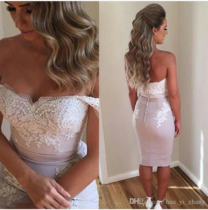 2016 Short Becch Summer Prom Dresses Off the Shoulder Beaded Sleeveless Lace Appliques Knee Length Evening Gowns