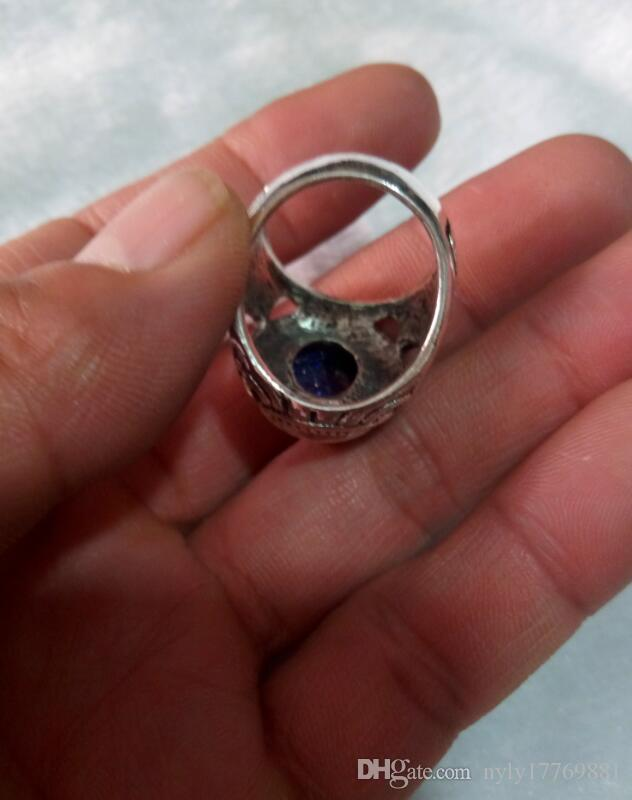 China's Tibet Tibetan silver peace ring 19 to 20 mm in diam V1