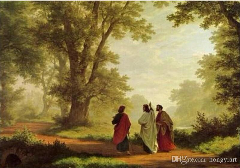 Canvas El Camino >> 2019 100% Handmade Art Classical Jesus Reproduction Oil Painting Landscape Robert Zund The Road ...