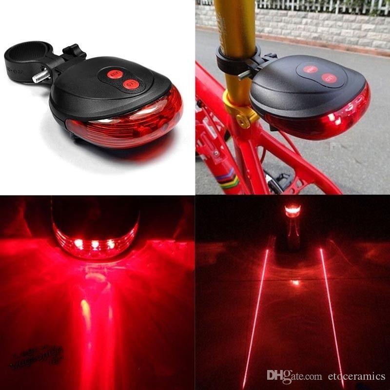 Bike 2Laser+5LED Flashing Lamp Rear Cycling Bicycle Tail Safety Warning Light AA