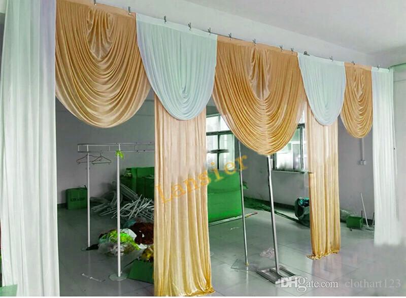 6m wide swags for backdrop valance wedding stylist backdrop designs Party Curtain Celebration Stage Performance Background Satin Drapes