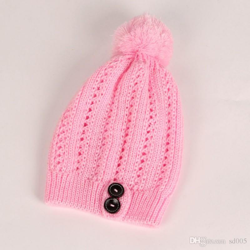 Inverno Tampas De Hedging Para Meninas E Mulheres Chapéus De Lã Com Grande Bola De Cabelo Botton Gorros Puras Cores 8 5xw B
