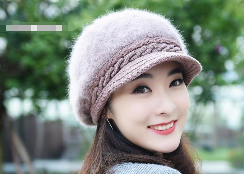 Women Rabbit hair Berets Hats Warm Knitted Wool Caps Solid Color Fashion Street Headwear Crochet Knitting Beret Hat Cap