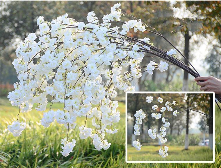 체리 꽃 베고니아 벚꽃 뭉치 가짜 Pleiopetalous 사쿠라 140cm 웨딩 파티 홈 인공 조화