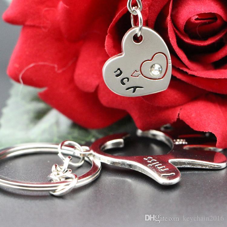 Sweet Palm Love Heart Keychains I Miss You With Rhinestone Key Ring