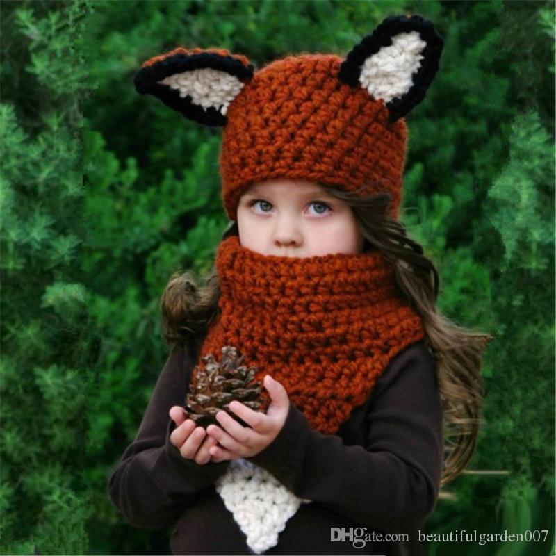 Großhandel Kinder Fox Ohrbeanie Scaven Fox Häkeln Hüte Wrap Knit ...