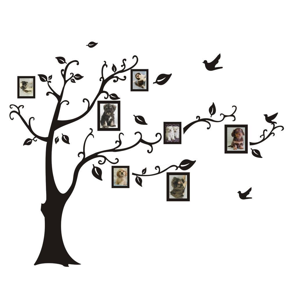 Heißer verkauf Große Größe Schwarz Familie Bilderrahmen Baum Wandaufkleber, DIY Dekoration Wandtattoos Moderne Kunst Wandbilder für Wohnzimmer