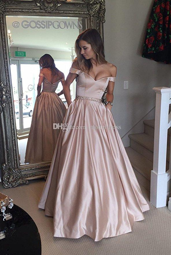 Best Selling ful Prom Dresses With Pocket Off Shoulder Beading ...