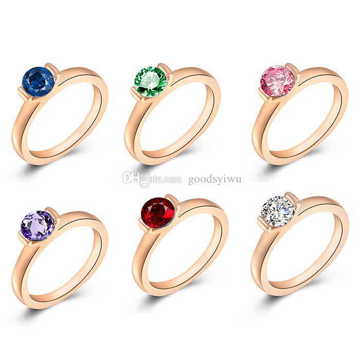 ROXI Lady Fine Jewllery 18k oro plata Platino Rhinestone redondo deslumbrante anillo de bodas de cristal de zircon suizo buen regalo tamaño 6 7 8