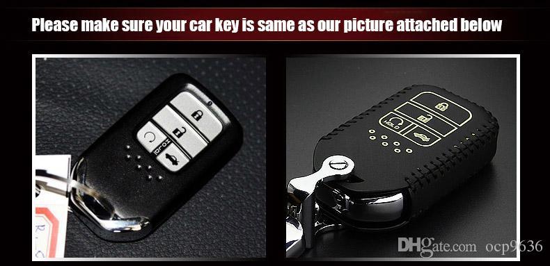 Carro-styling brand new alta qualidade couro chave remota titular da tampa do caso para honda civic 10th / honda accord