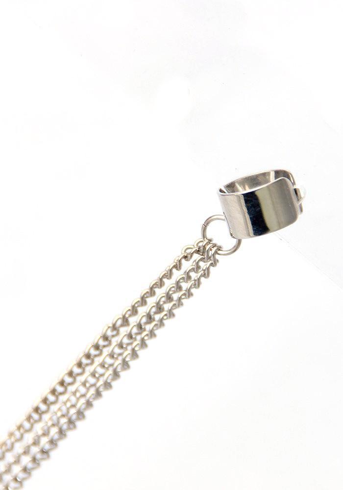Kittenup Nova Moda Europeia de Ouro-cor Longa Cadeia De Metal Cuff Ear Cuff Jóias Borla Clipe Brincos para As Mulheres Cor Prata
