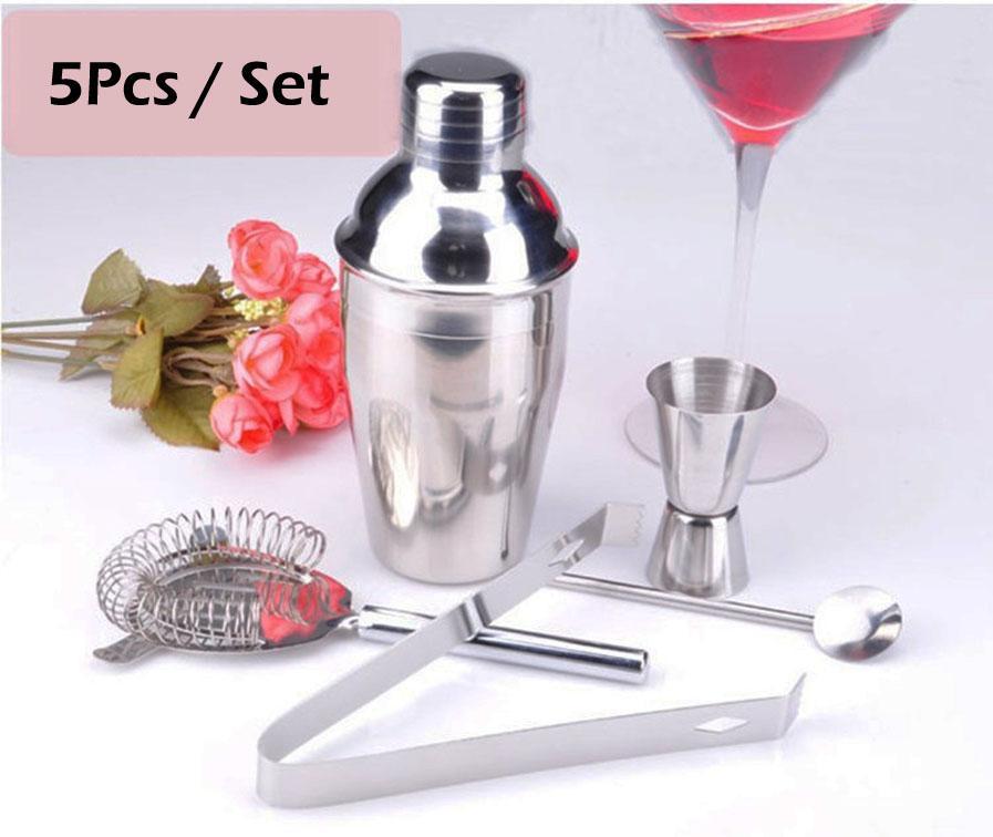 5 Pçs / set Conjuntos de Barra de Aço Inoxidável Prático 350 ML Cocktail Shaker Mixer Bebida Barman Kit Barras Eco-Friendly Conjunto de Ferramentas