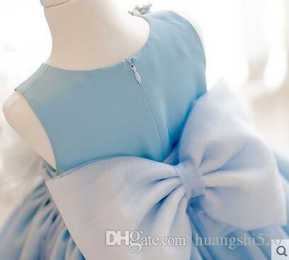 The new 2016 European and American children dress Snow White skirt of bitter fleabane bitter fleabane skirt girl costumes blue flower girl d