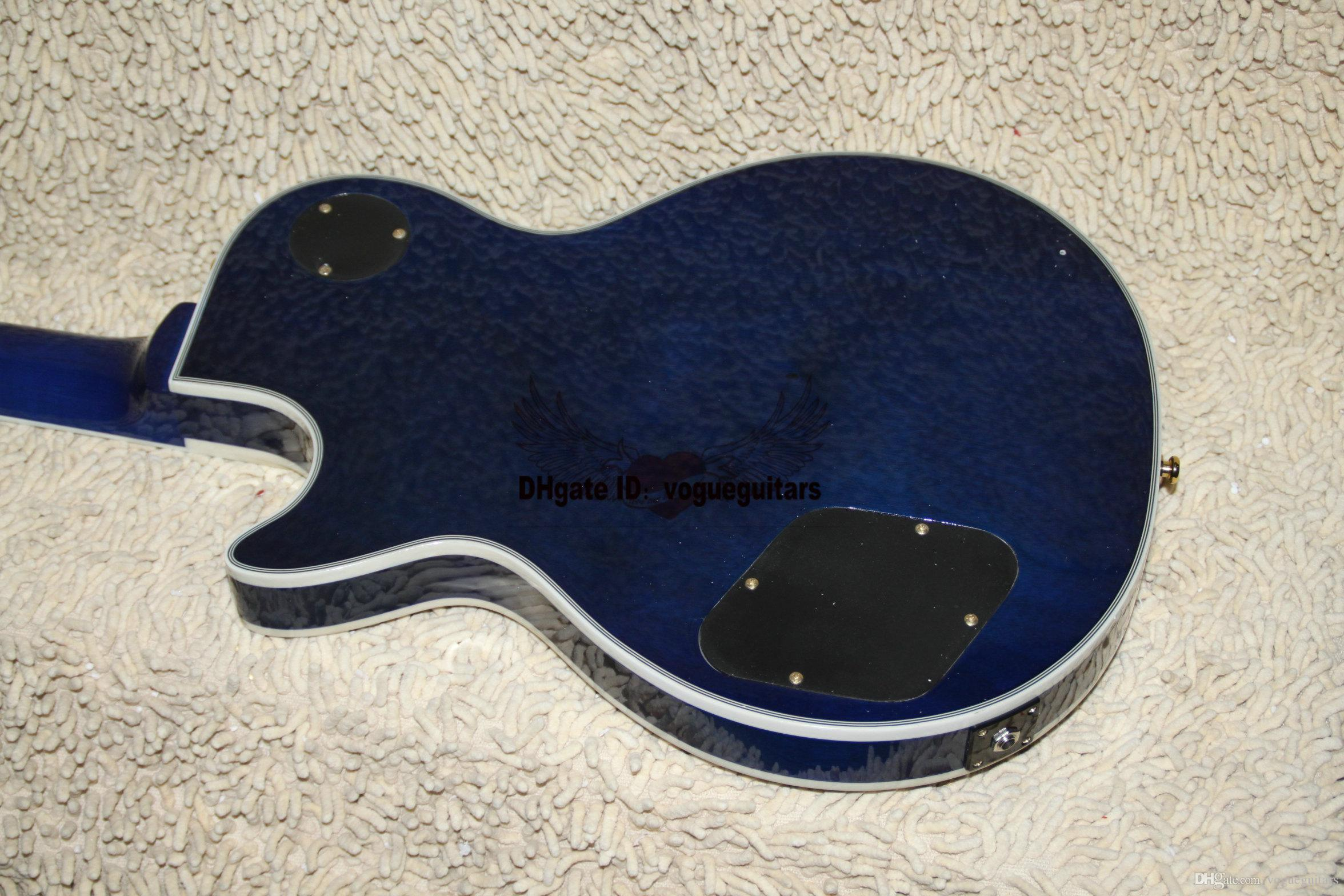 Newest Bule Burst Custom Electric Guitar High Quality guitar Chrome accessories OEM Guitar From China