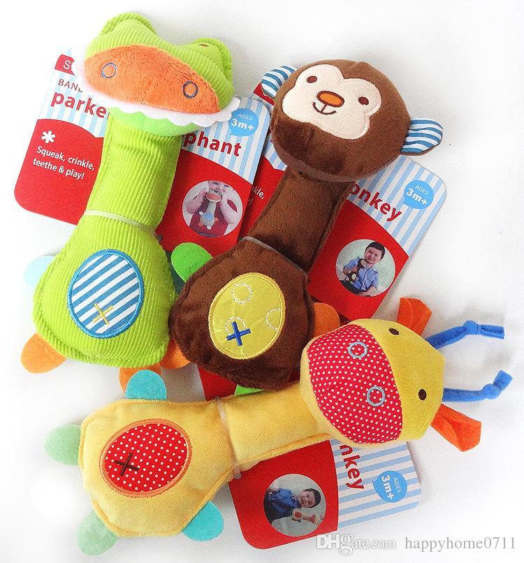 christmas new years party gifts high quality fashion cute zoo series baby favorite plush hand bell bb stick childrens babys toys 2111cm new childrens