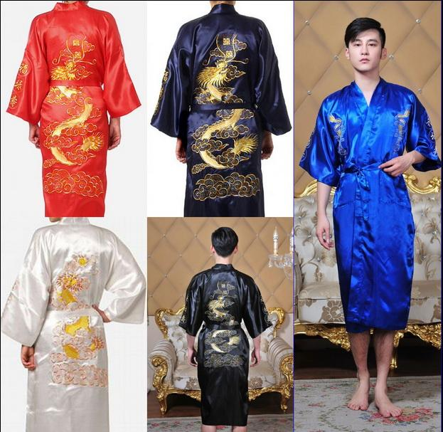 ce44ea56df 2019 M 2XL Sexy Men S The New Embroidery Dragon Pajamas Nightgown Japanese  Silk Kimono Robe Pajamas Nightdress Sleepwear From Wedding 8