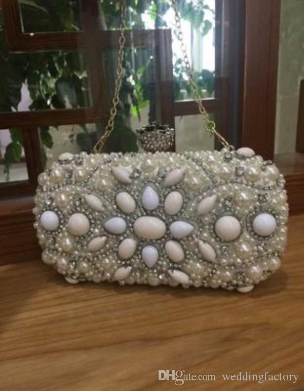2016 Date De Luxe Mini Sacs Cristaux Perles De Mariée De Mariage Sac De Soirée Une Épaule Mariées Portefeuilles Sacs À Main Embrayages Bourse