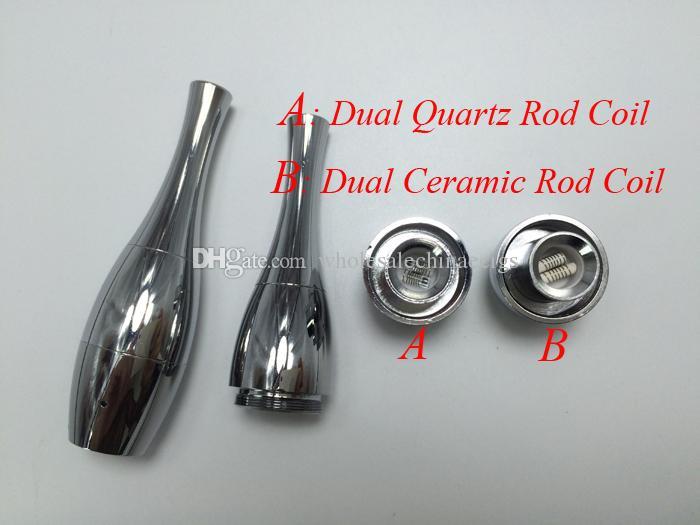 Vase Cannon Bowling Atomizer Dry Herb Vaporizer Dual quartz Coil Rebuildable Wax Atomizer for 510 Thread EGO T Twist E Cig Battery
