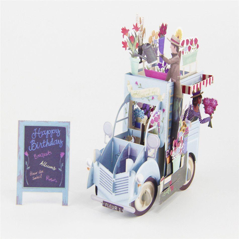 Wholesale Flower Couple 3d Laser Cut Pop Up Custom Greeting Cards