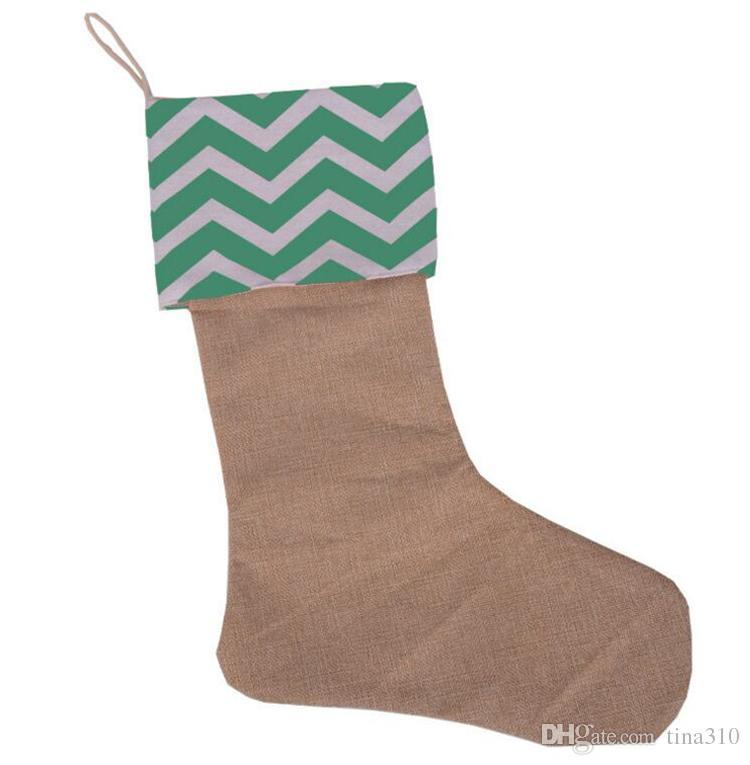 12*18 Zoll Neue hohe Qualität Leinwand Weihnachtsstrumpf Geschenk Taschen Weihnachtsstrumpf Weihnachten Dekorative Socken Taschen 4543