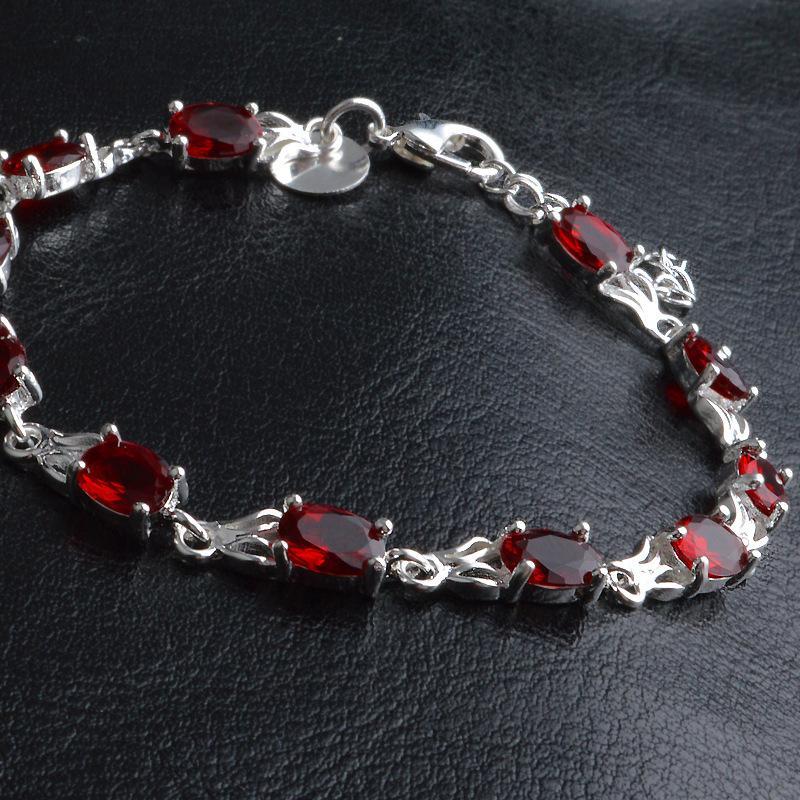 New Charm Rubin-Armband für Frauen Art und Weise böhmisches Schmuck Sterlingsilber-Armbänder Zirkonia Armbänder für Frauen