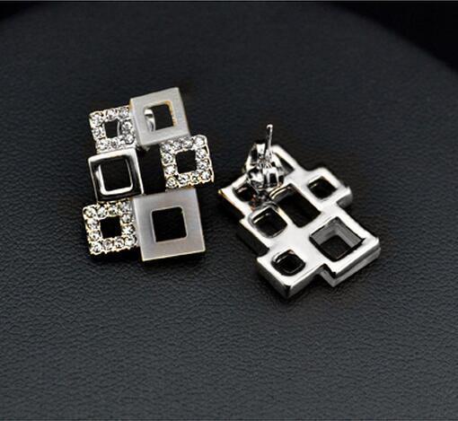 Tam Rhinestone Kolye Küpe Yüzükler Kadınlar için Geometri Düğün Takı Setleri Setleri Moda Elmas Gelin Takı Seti Marka Tasarımcısı