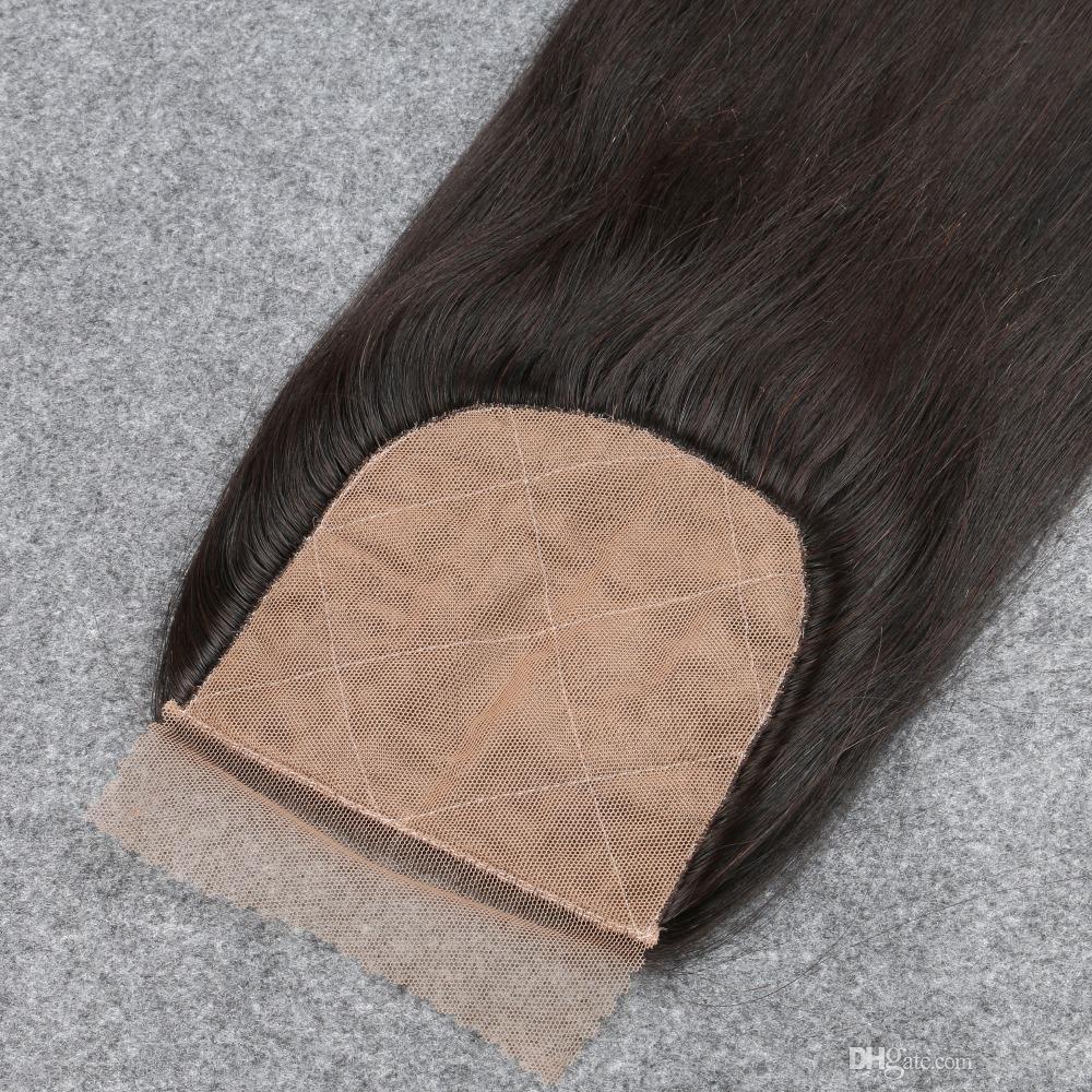 Silk Base Closure Straight 7A Brazilian 100% Human Hair Free/2/3 Side Part Cheap Silk Top Closures Bleached Knots