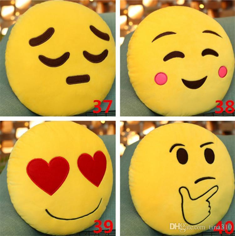 Hot 40Styles 31CM Emoticon Emoji Morbido Cuscino Rotondo Cuscino Divano Peluche Ripiene Peluche Bambola Emoji Cuscino Cuscino Emoji IB229